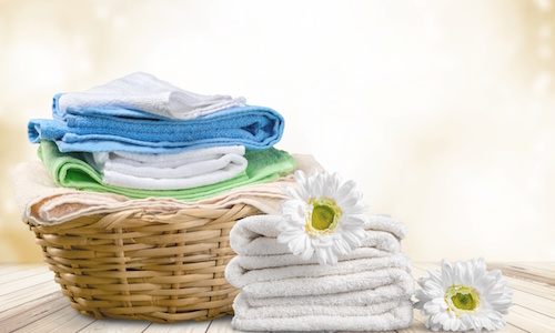 a basket with clean laundered items