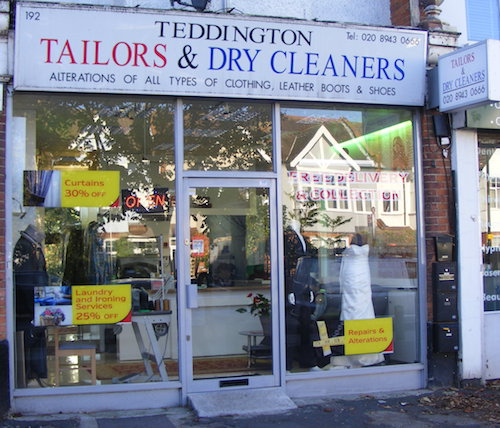 an image of the front of the teddington tailors and dry cleaners shop front
