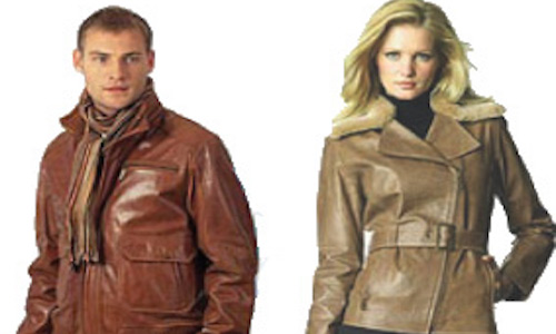 a man and a womwn wearing respective leather coats